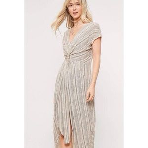 Vici Multicoloured Striped Knot Front Waist Dress